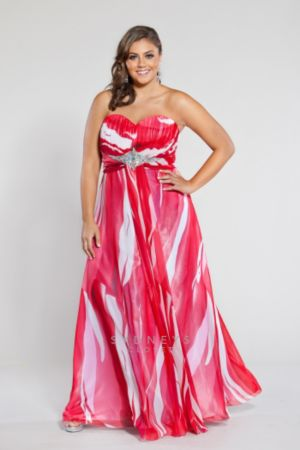 Red and white print strapless chiffon gown