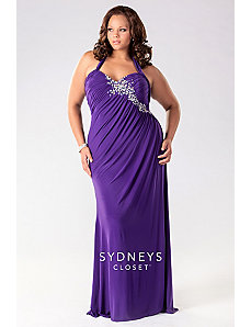 Long halter jersey mermaid dress by Sydney's Closet