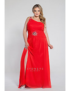 Chiffon one-shoulder gown with beaded spaghetti st by Sydney's Closet