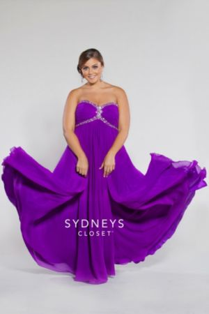 Strapless chiffon empire with ruched bodice and ch