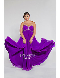 Strapless chiffon empire with ruched bodice and ch by Sydney's Closet
