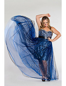 Short strapless sequin sheath with long tulle by Sydney's Closet