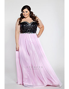 Strapless chiffon dress with black sequined bodice by Sydney's Closet
