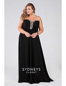 Long Chiffon Strapless Gown by Sydney's Closet