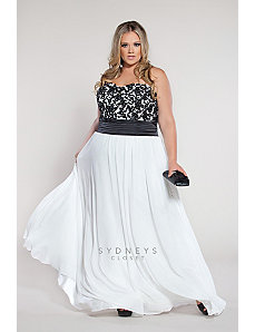 Beautiful plus size strapless dress with beaded la by Sydney's Closet