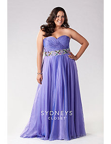 Elegant Strapless Gown in Cross-dyed Chiffon by Sydney's Closet
