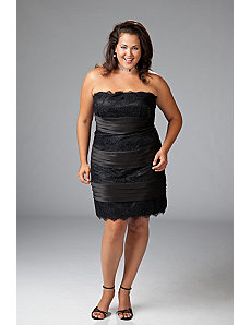 Plus size satin and lace cocktail dress by Sydney's Closet