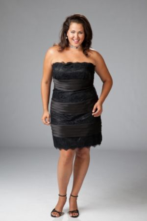 Plus size satin and lace cocktail dress