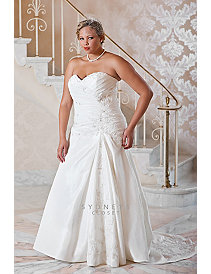 Plus size luxury taffeta fit and flare wedding gow by Sydney's Closet