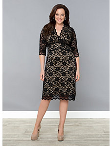 3/4 Sleeve Scalloped Boudoir Lace Dress by Kiyonna
