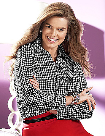 Houndstooth cotton sateen shirt by Lane Bryant