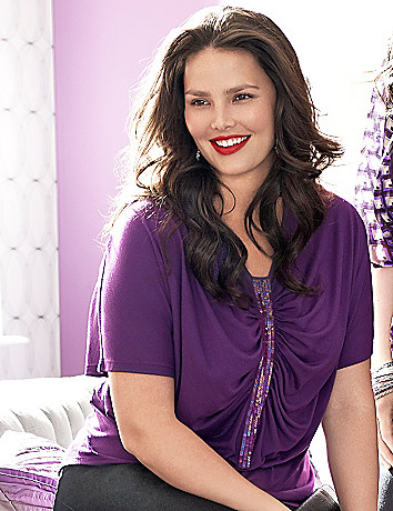 Ruched sequin tee by Lane Bryant