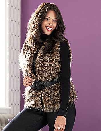 Faux fur vest by Lane Bryant