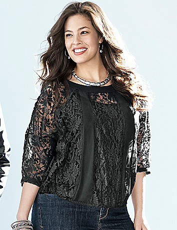3/4 sleeve lace top by Lane Bryant