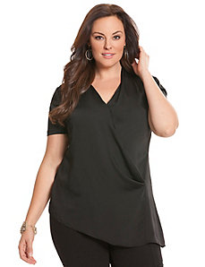 Short sleeve side ruched blouse by DKNYC