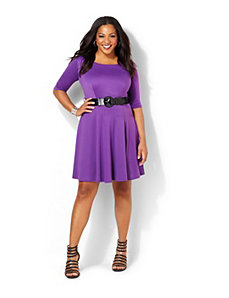 Purple Belted Dress by Ruby Rox