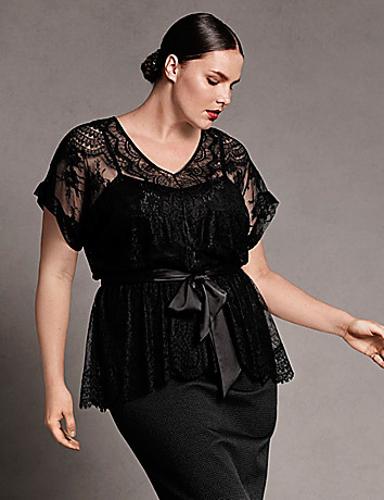 Plus size designer Lace peplum top by Isabel Toledo