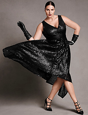 Plus size designer Sequin dress with sash by Isabel Toledo