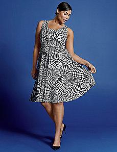 Op Art sleeveless V dress by Isabel Toledo
