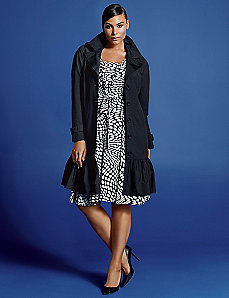 Ruffle hem trench coat by Isabel Toledo