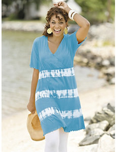 Surplice Tie-dye Tunic Dress by Ulla Popken