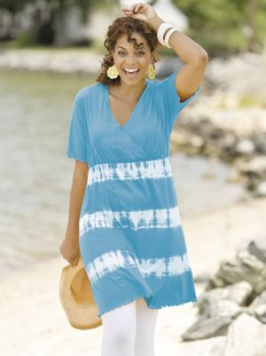 Surplice Tie-dye Tunic Dress