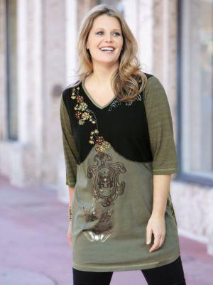 Mixed Print Knit Tunic