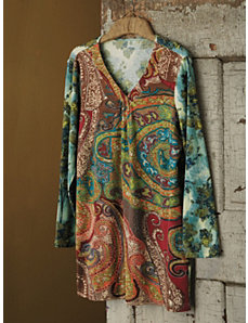 Paisley Embroidered Knit Tunic by Ulla Popken