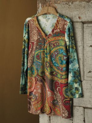 Paisley Embroidered Knit Tunic