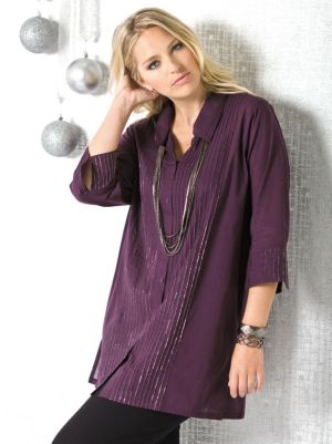 Metallic Pintuck Tunic Blouse