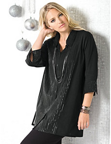Metallic Pintuck Tunic Blouse by Ulla Popken