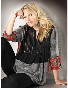 Beaded Holiday Tunic by Ulla Popken