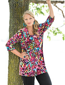 Artist Print Stretch Knit Tunic by Ulla Popken