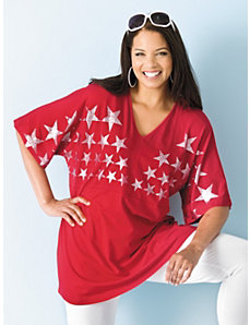 Metallic Star Knit Tunic by Ulla Popken