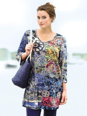 Foil Print Knit Tunic
