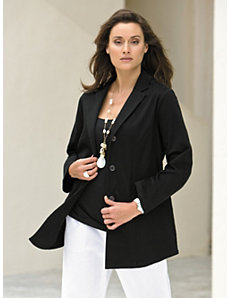 Stretch Twill Boyfriend Blazer by Ulla Popken