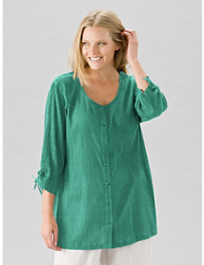 Cotton Gauze Tunic Blouse by Ulla Popken