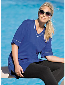 Grommet Detailed Knit Tunic by Ulla Popken