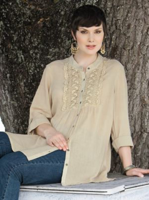 Crochet Detail Tunic Blouse