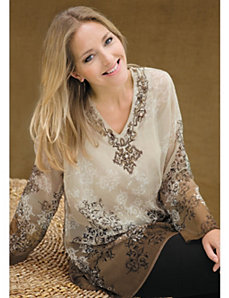 Dip Dye Embroidered Tunic Set by Ulla Popken