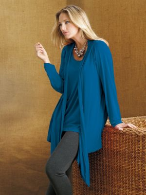 Open Front Viscose Spandex Knit Pintuck Jacket