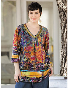 Print Beaded Knit Tunic by Ulla Popken