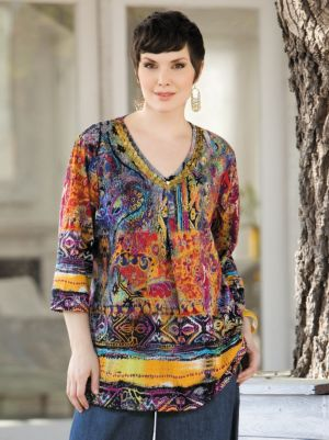 Print Beaded Knit Tunic
