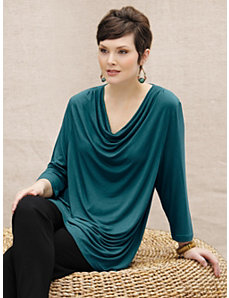 Waterfall Viscose Spandex Knit Top by Ulla Popken