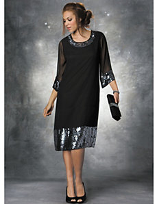 Sequin Banded Chiffon Dress by Ulla Popken