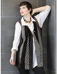 Mixed Media Vest by Ulla Popken