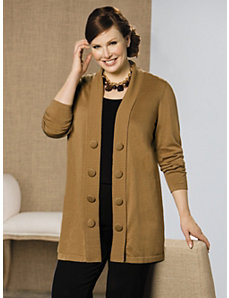 Big Button Cardigan Sweater by Ulla Popken
