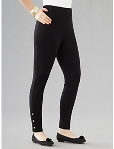 Snap Stretch Knit Leggings by Ulla Popken