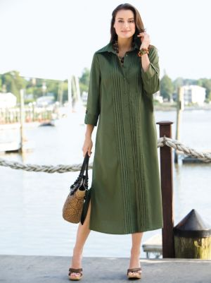Pintuck Stretch Shirt Dress