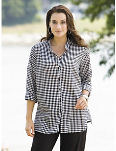 Gingham Blouse by Ulla Popken